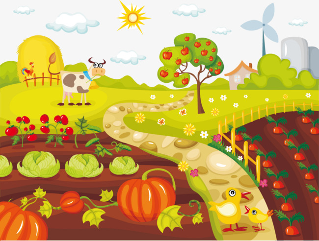 Chickens clipart veggy. Vegetable farm and cattle