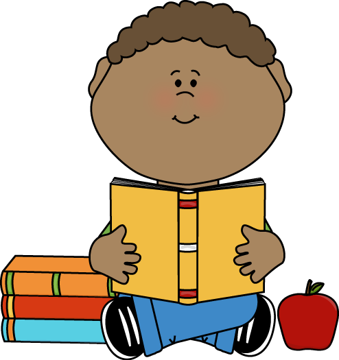 Child clipart book. Of children reading at