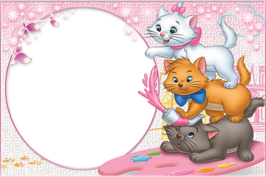Child frame png. Three cute kittens transparent
