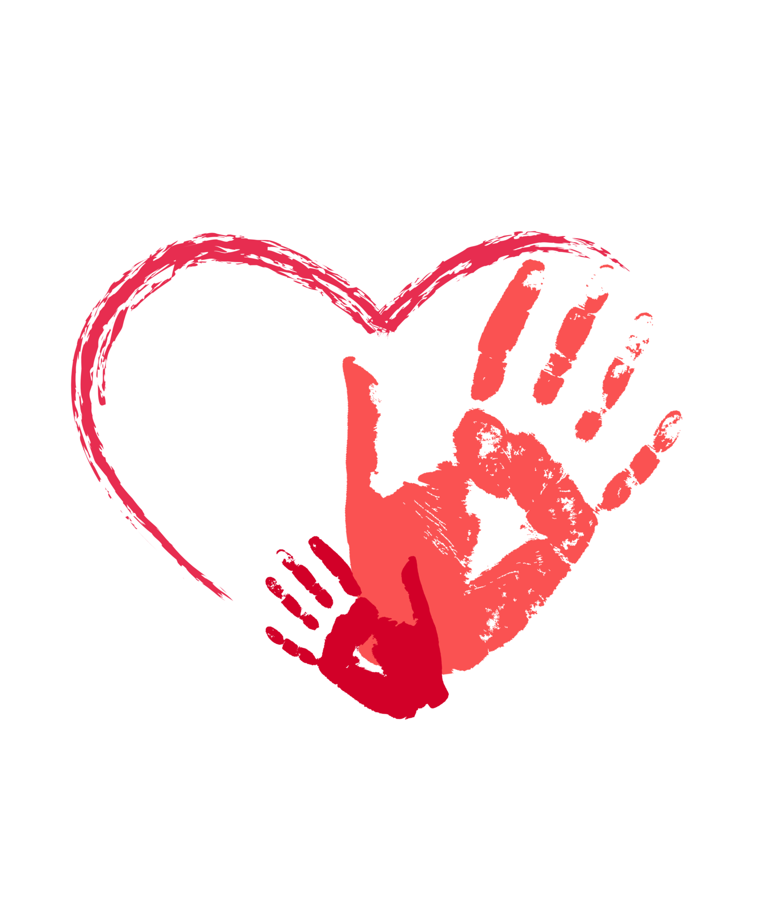 Child handprint with heart png. Mother and hand prints