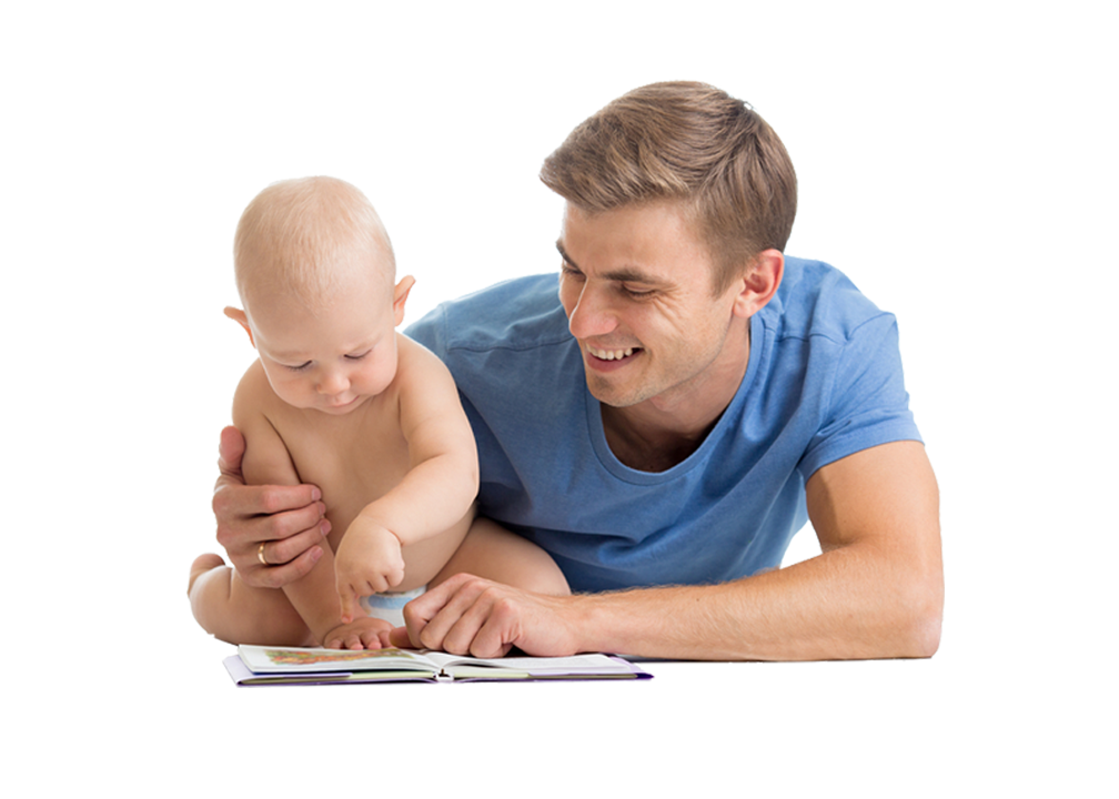 Child reading png. Dad with baby free
