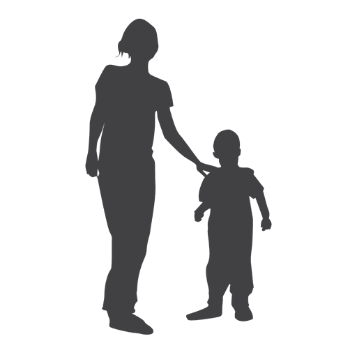 Mother and child silhouette png. Transparent svg vector