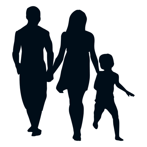 Walking people silhouette png. Family with child transparent