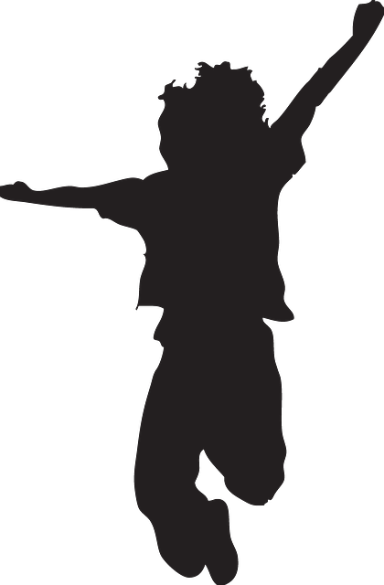 Child silhouette png vector free. Happy kid jumping pose