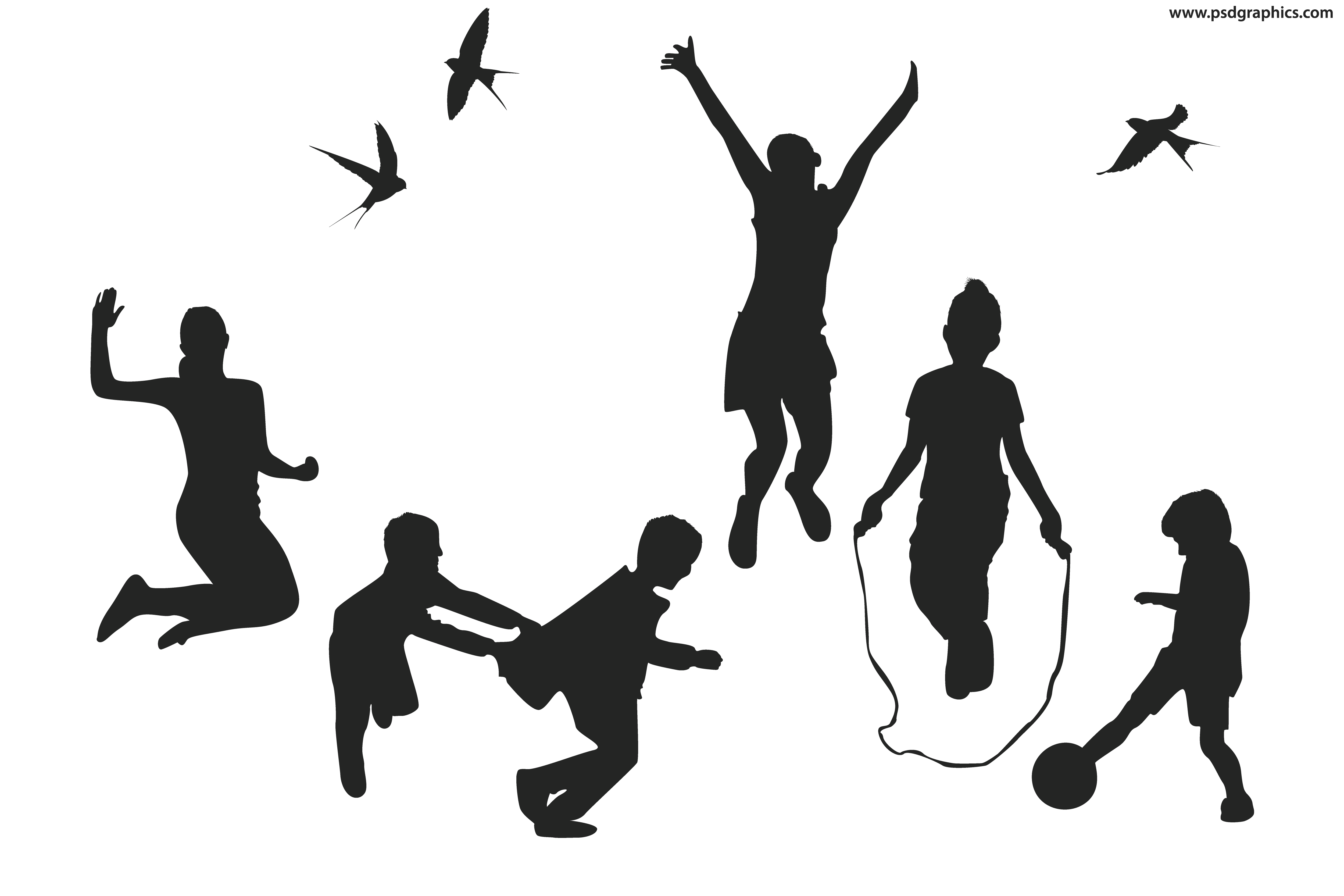 Child silhouette png vector free. Playful children silhouettes psdgraphics
