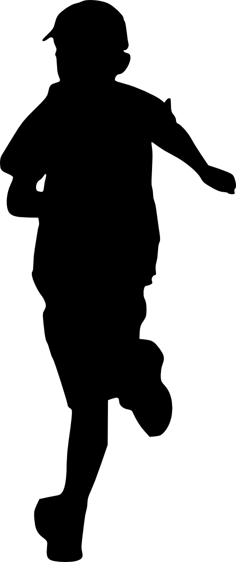 Running children png. Kid silhouette transparent