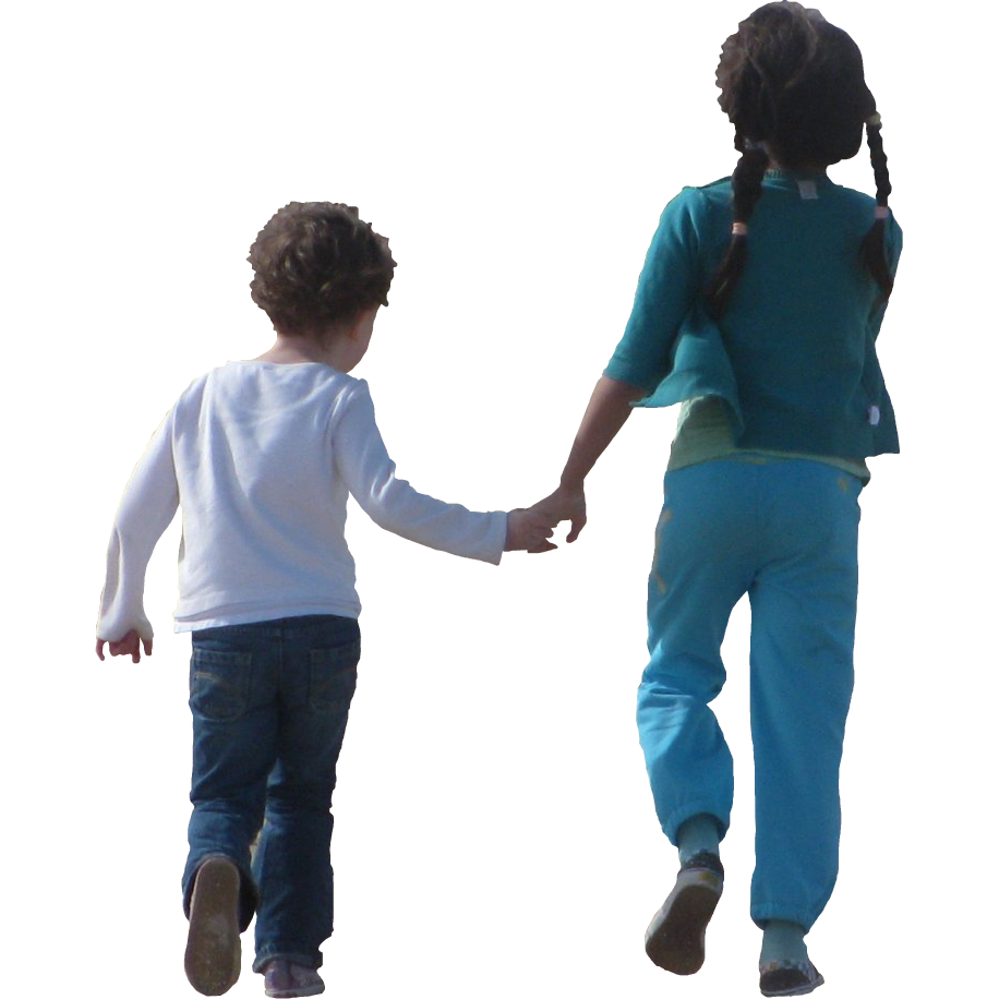 Children png. Holding hands and skipping