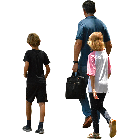 People png walking. Two kids with their