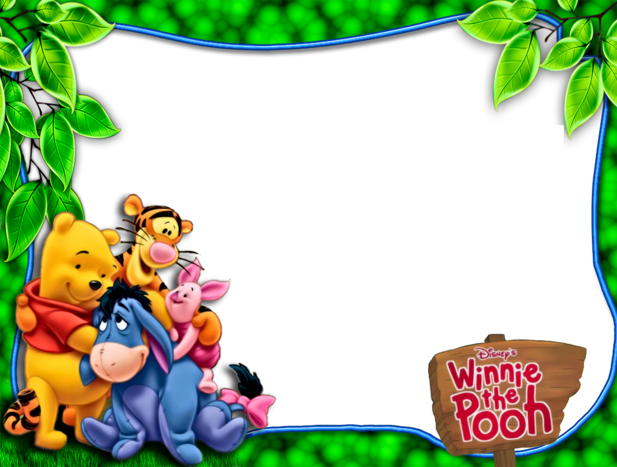 Children frame png. Pooh and friends green