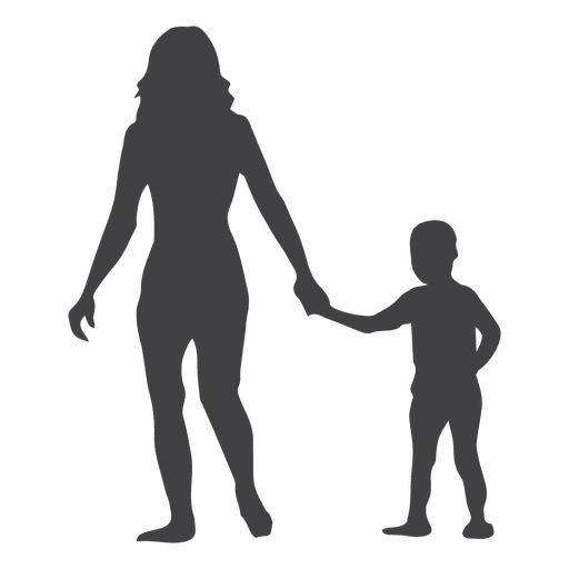 Children holding hands png. Mothers day silhouette with