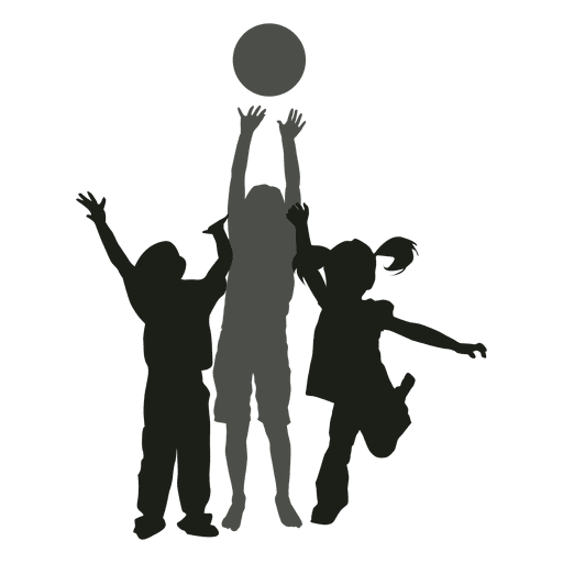 Children playing silhouette png. Kids with ball transparent