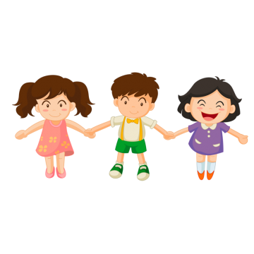 Vector nature kids. Three children png images
