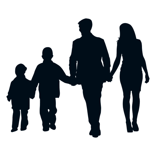 Children silhouette png. Family with two transparent