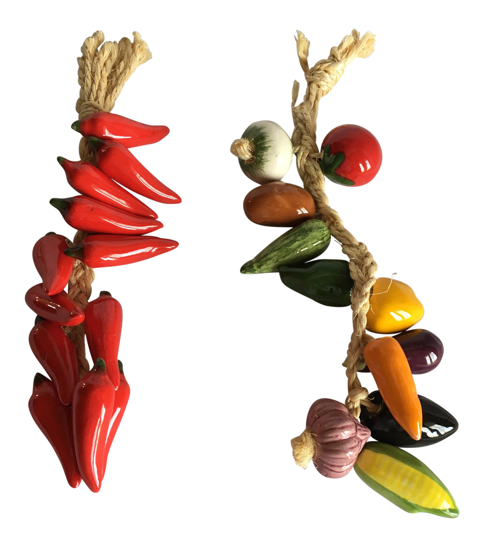Chili drawing ristra. Mexican ceramic vegetables rope