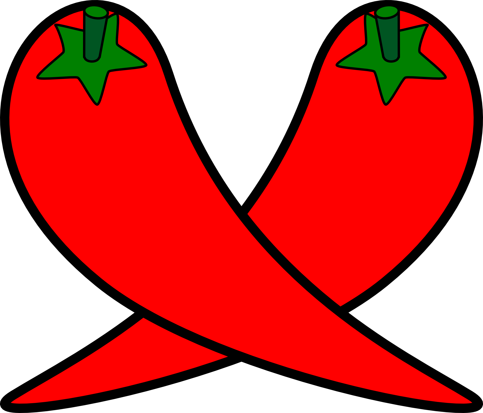 Chili drawing line. Of two crossed peppers