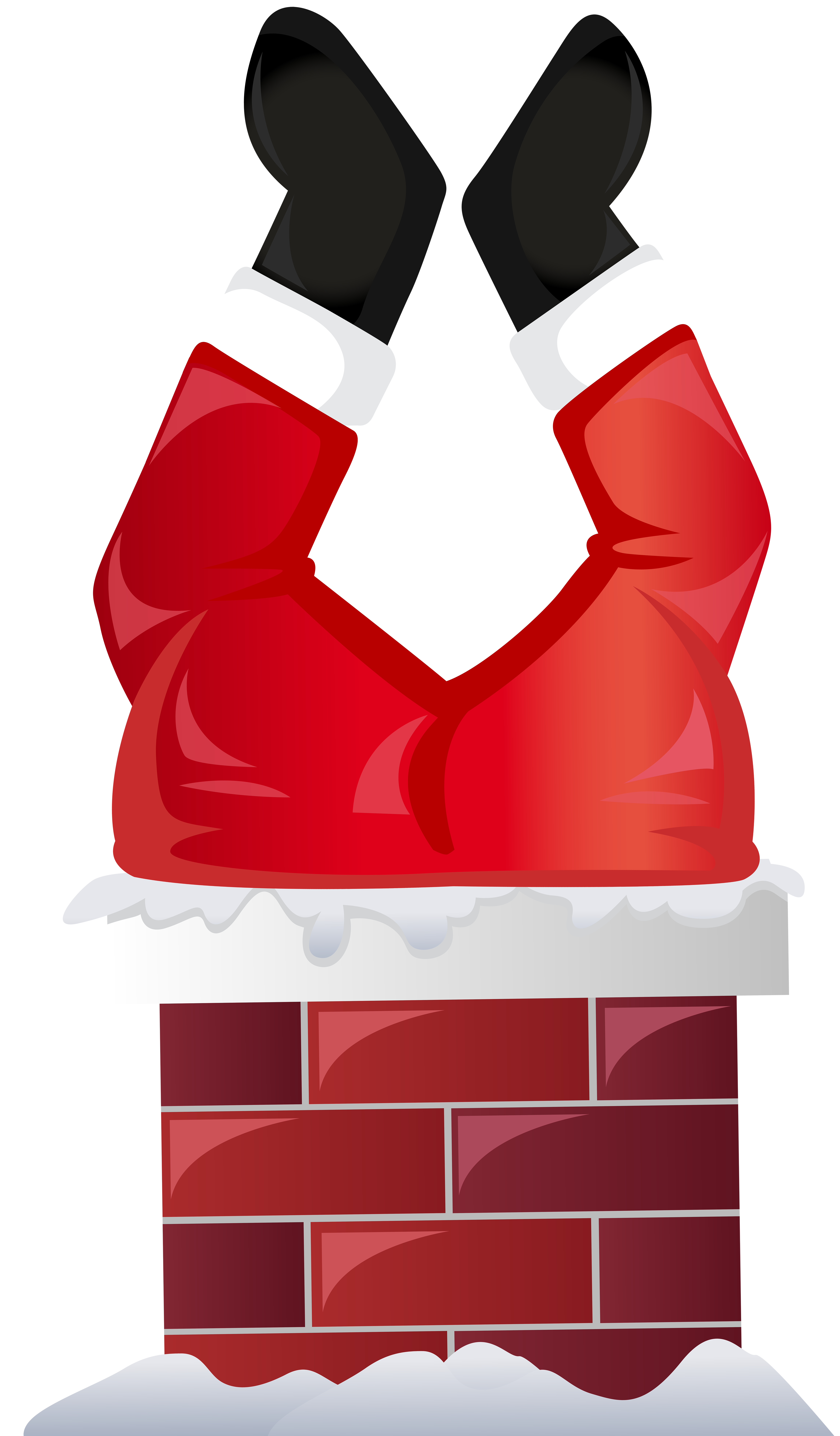 Chimney clipart. Funny santa in transparent