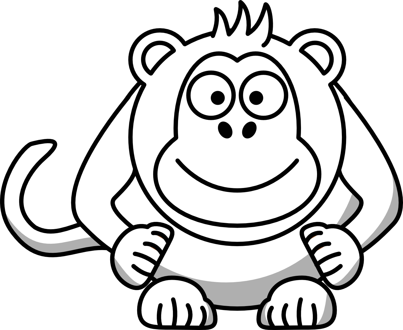 Chimp drawing black and white. Monkey clip art clipart