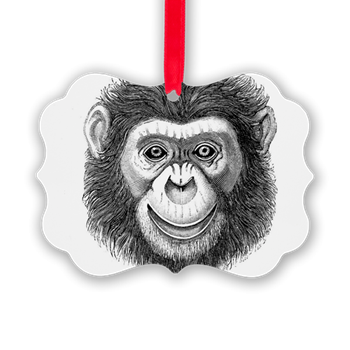 Chimp drawing christmas. Monkey face ornament full