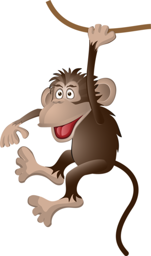 Chimp drawing colored paper. Monkey clip art