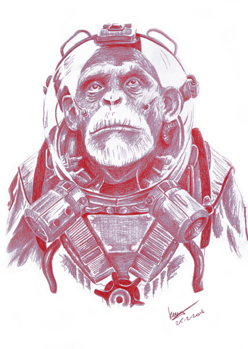 Chimp drawing space. Tote bag for sale
