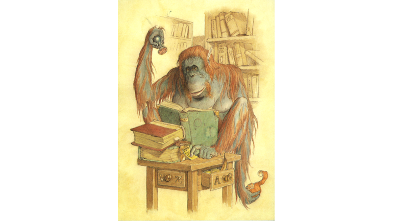 Chimp drawing orangutan. Foundation is fundraising for