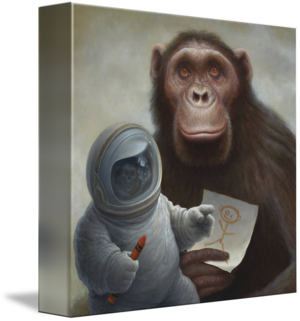 Chimp drawing painting. God with a crayon