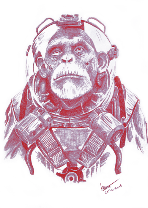 Chimp drawing space. Iphone x case for