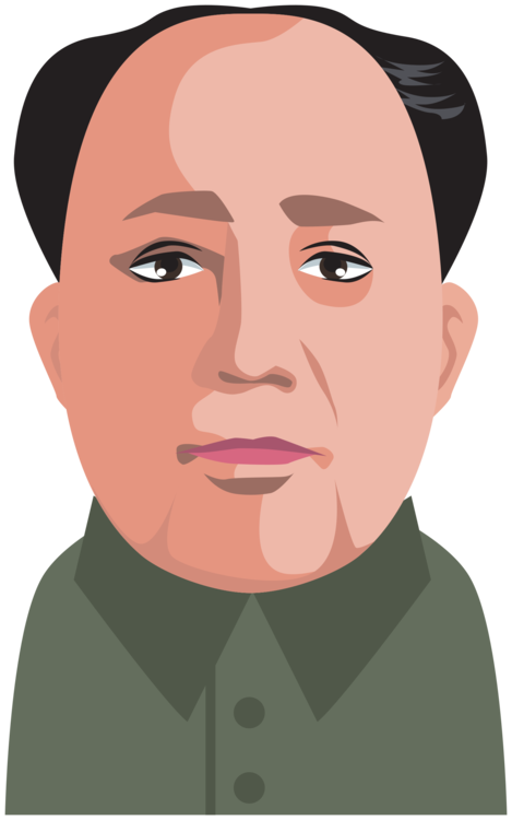 Chin clipart hand on. Mao zedong moustache cartoon