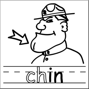 Clip Art: Basic Words: -in Phonics: Chin B&W I abcteach.com | abcteach