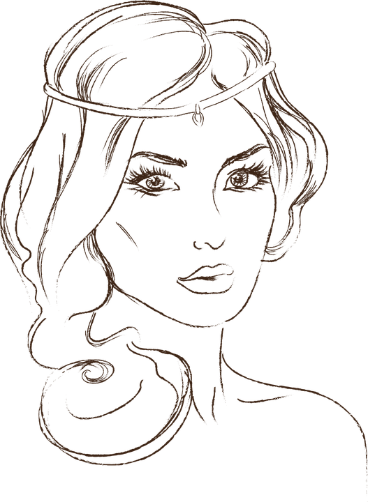 Chin clipart black and white. Smiling woman no one