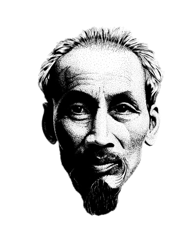 Chin drawing black and white. Ho chi minh transparent