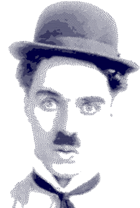 Portraits drawing cross hatching. Charlie chaplin in blue