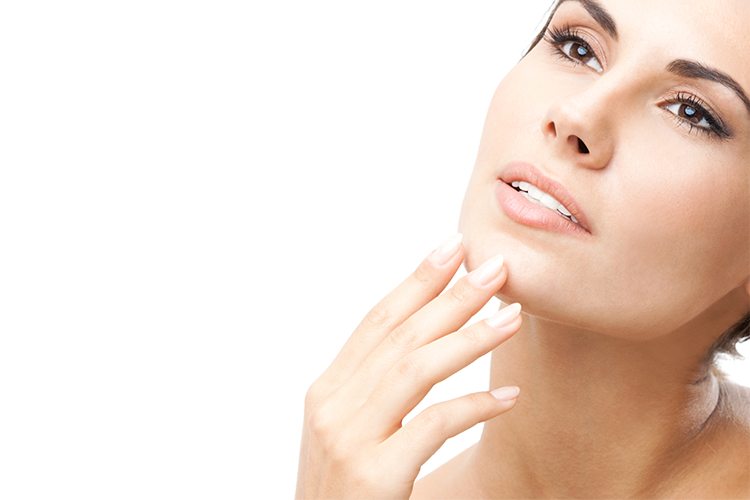 Chin drawing jawline. Anti ageing treatments lower