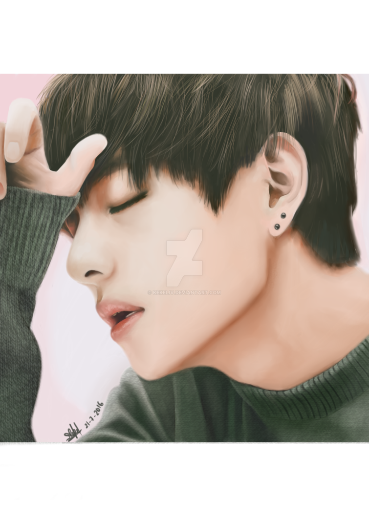 Chin drawing jawline. Bts v photorealism by