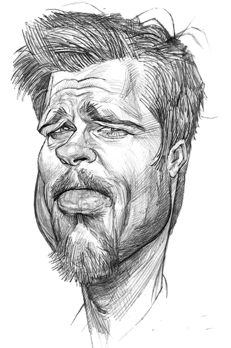Drawing caracatures sketch. Brad pitt caricature cartoons