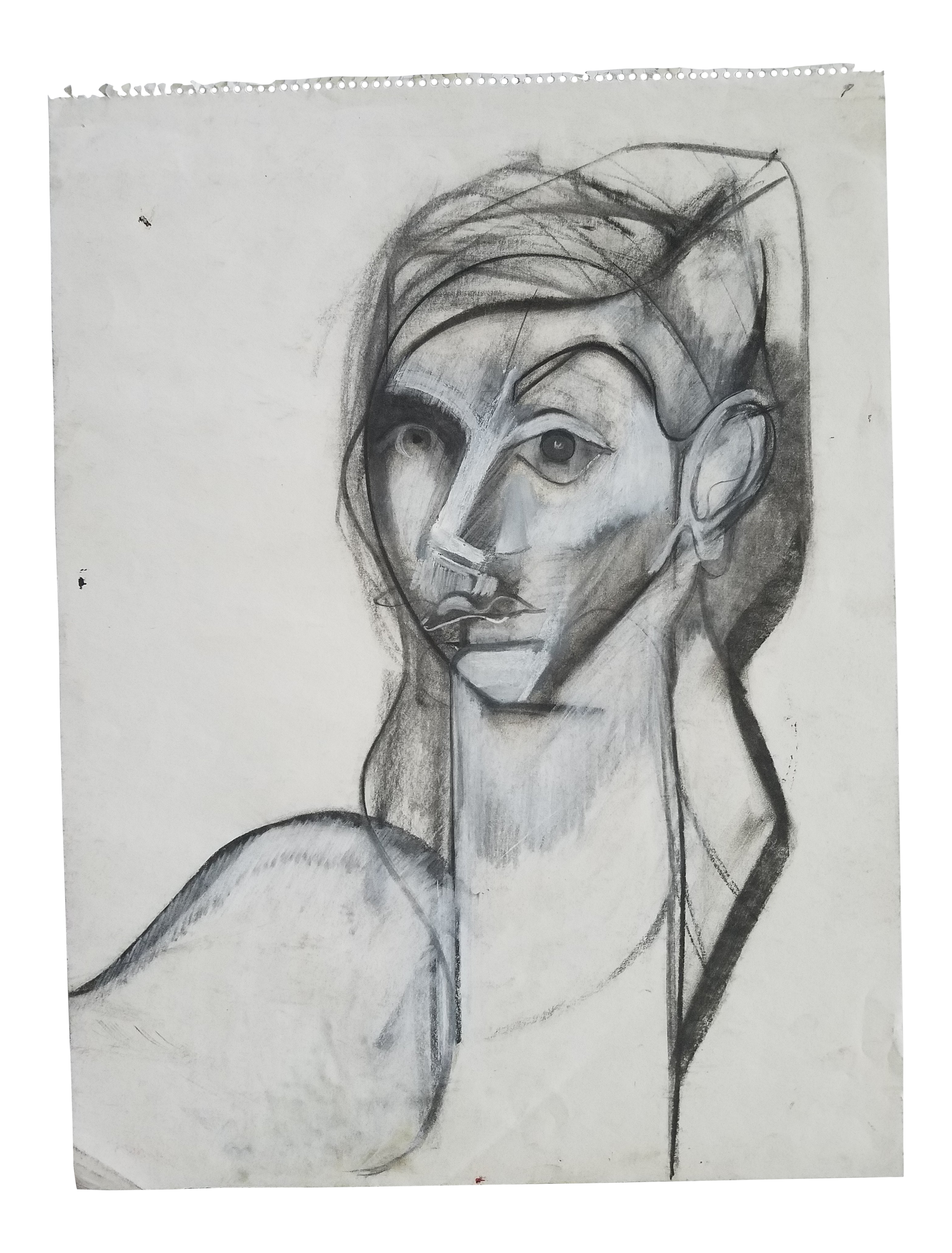Drawing candle charcoal. Abstract profile and pastel