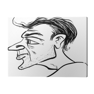 Chin drawing profile. Man caricature canvas print