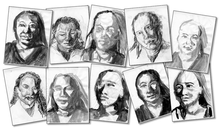 Portraits drawing ink. My artistic expressions preliminary