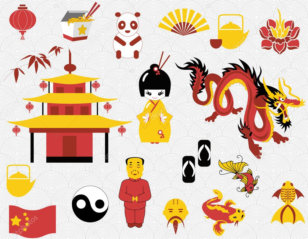 Chinese set stock vector. China clipart image download