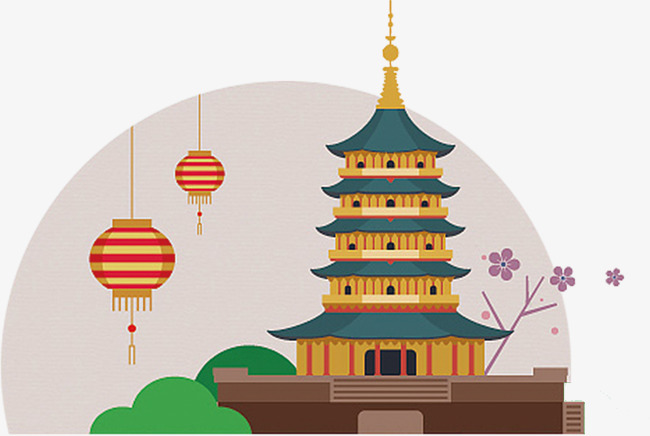 China clipart china pagoda. Hand painted chinese ancient