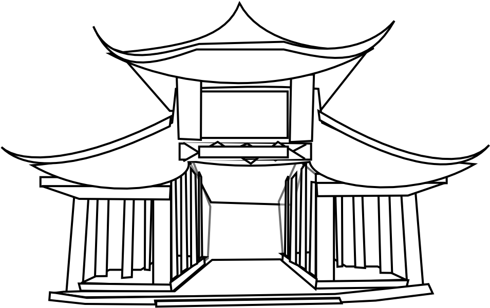 Drawing chinese architectural. Architecture black white line