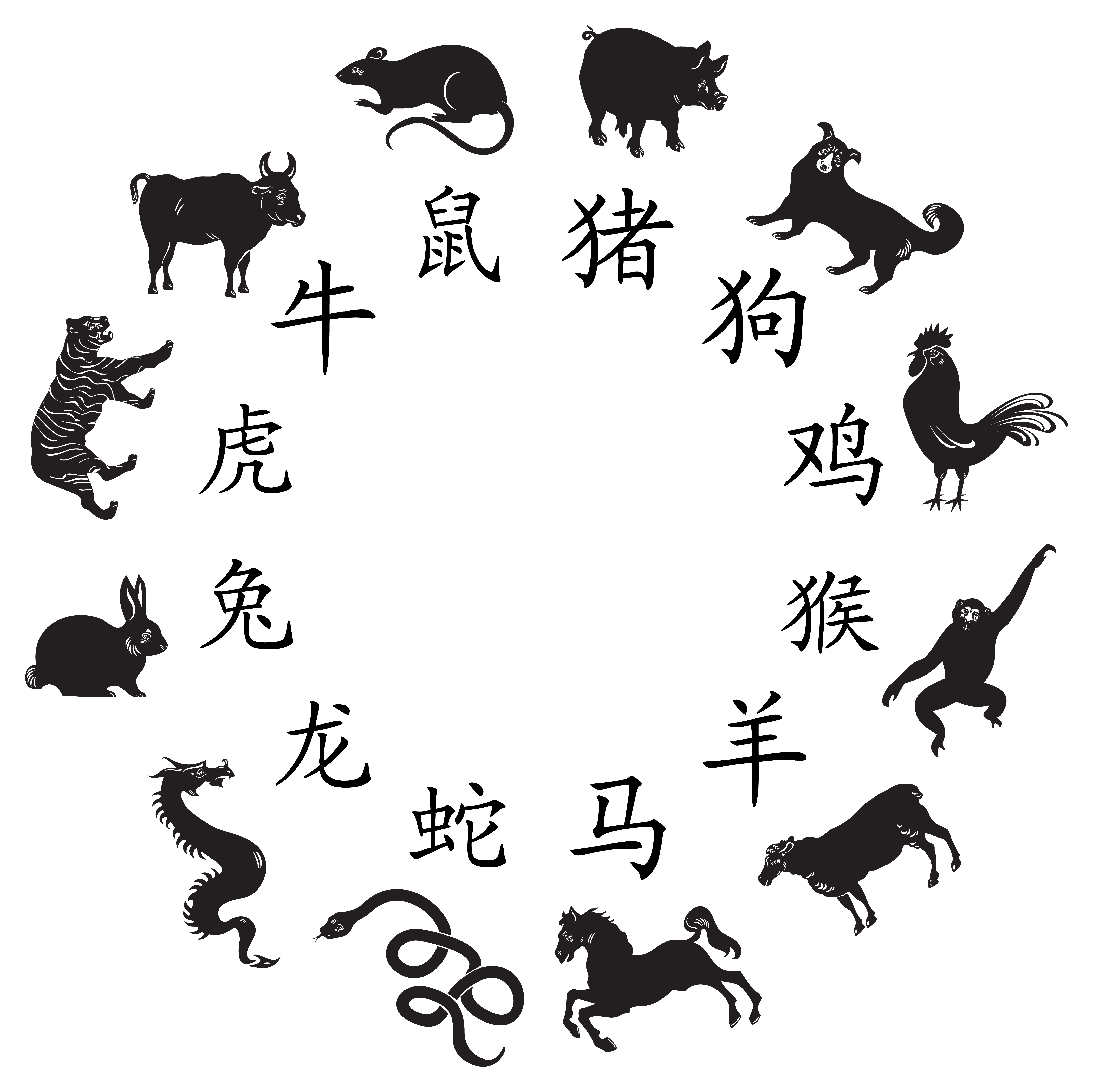 Chinese zodiac png image. China transparent clipart black and white download