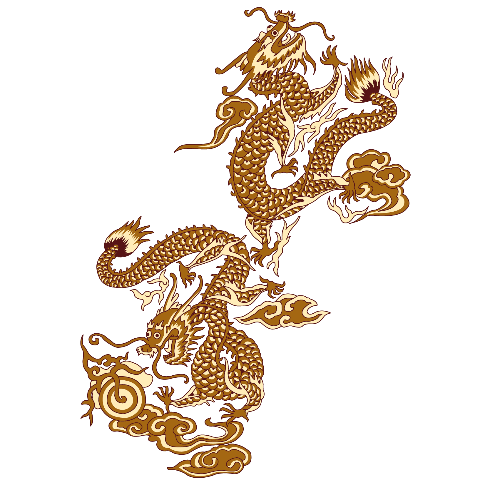 China transparent full body. Chinese dragon golden wind