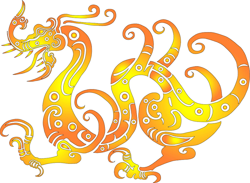 China transparent full body. Chinese dragon characters the