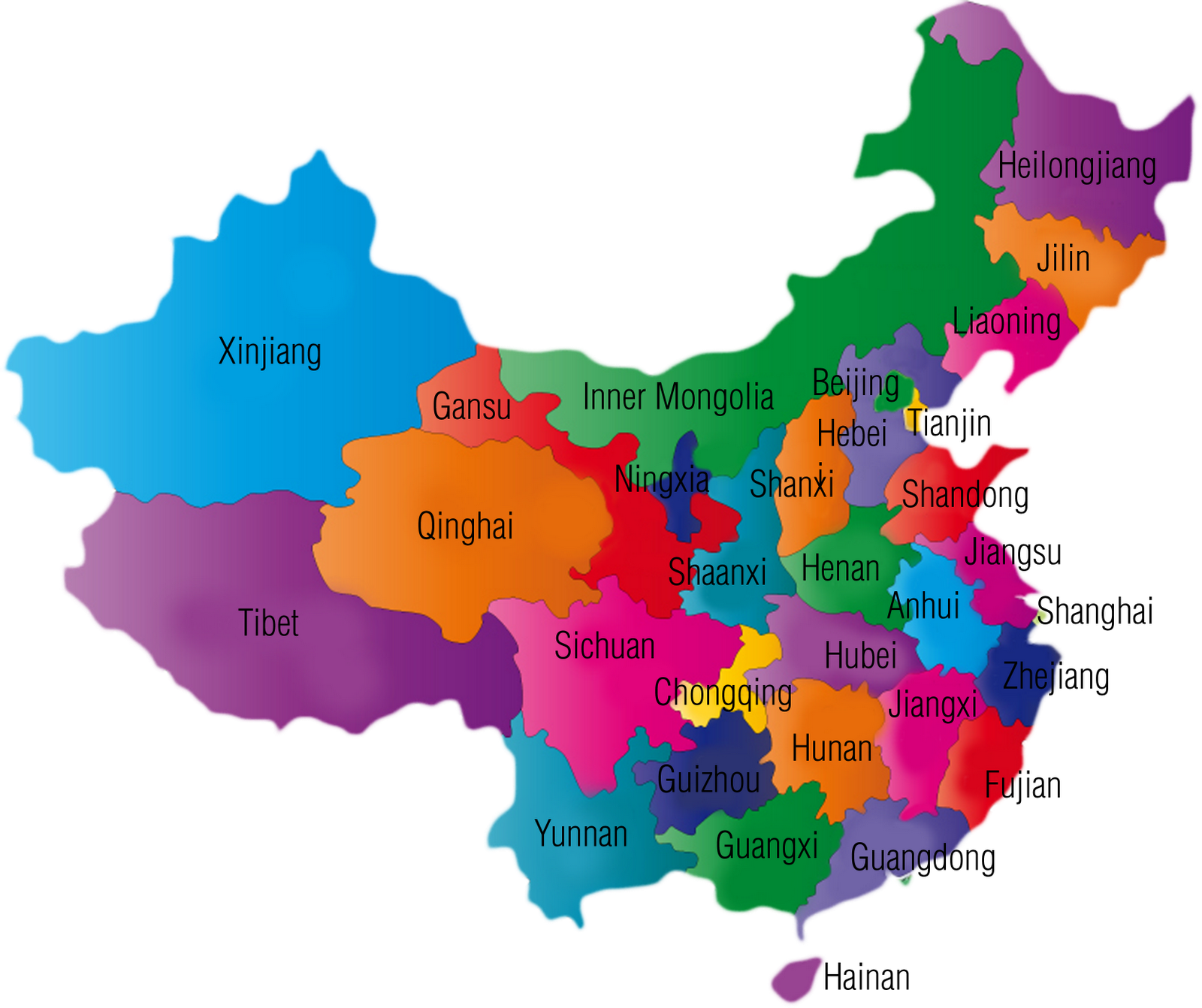 China transparent geography. Provinces study guide quiz