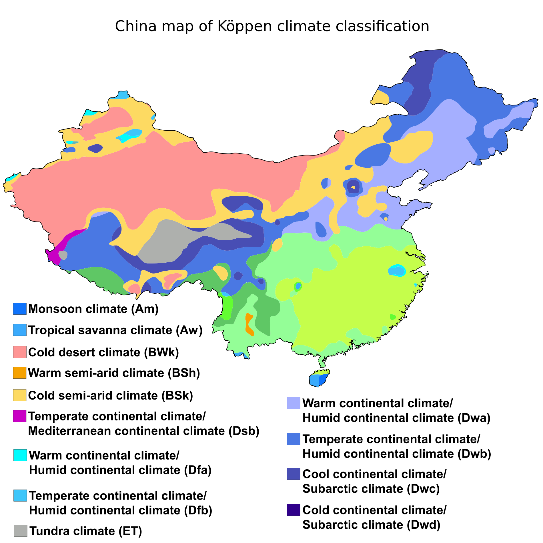 China transparent geography. K ppen climate classification