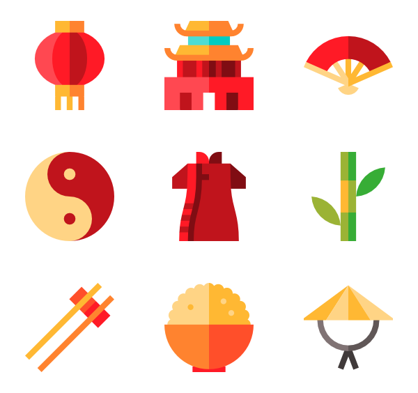 China transparent icon. Packs vector svg