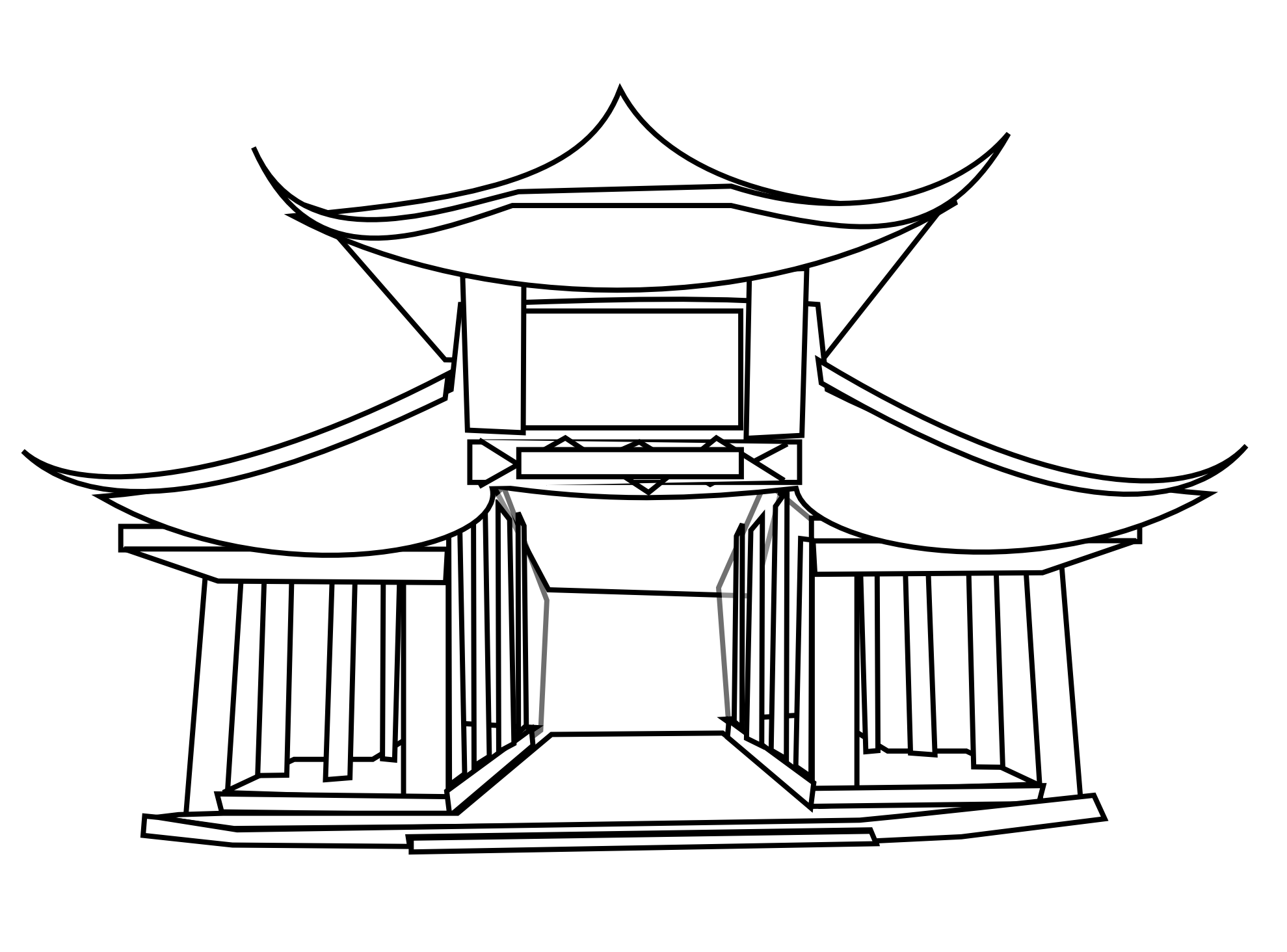 Drawing samurai temple. China clip art