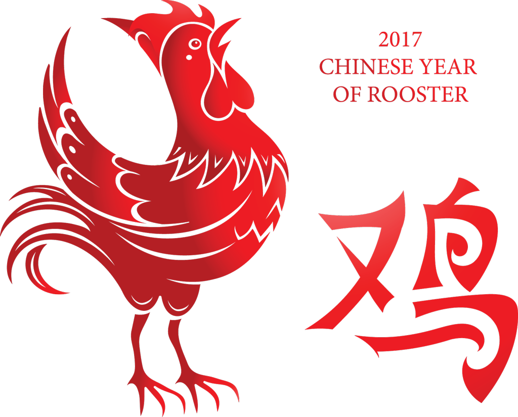 China transparent rooster. Chinese new year post