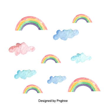 Rainbow watercolor png. Colored clouds vectors psd
